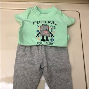 Boys 3 month Outfit Green & Grey 2 pc Top & Pants